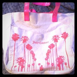 Juicy Couture cream & pink grocery tote bag